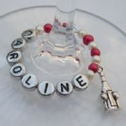 Bottle & Glasses Personalised Wine Glass Charm - Full Bead Style